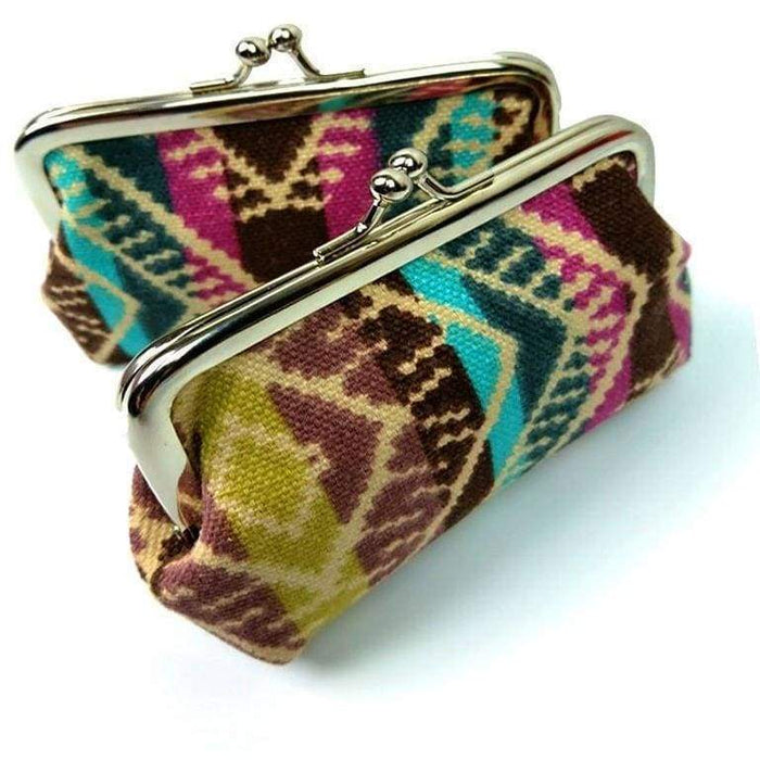 New Ladies Girls Canvas Striped Multi Coloured Coin Purse Card Holder - The Fashion Gift Shop