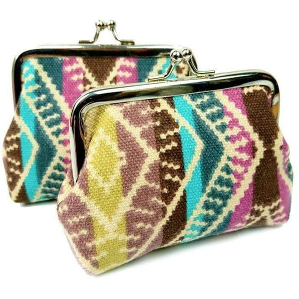 New Ladies Girls Canvas Striped Multi Coloured Coin Purse Card Holder - The Fashion Gift Shop Ltd