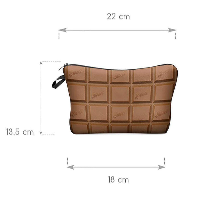 New Ladies Girls Chocolate Bar Cosmetic Bag Makeup Pouch Travel Pencil Case - Gift Shop UK