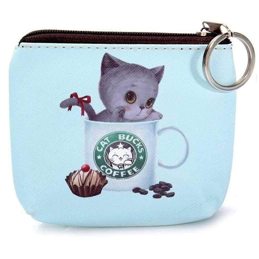 New Ladies Girls Cute Cat Kitten Purse Novelty Coin Pouch Small PU Wallet - The Fashion Gift Shop Ltd