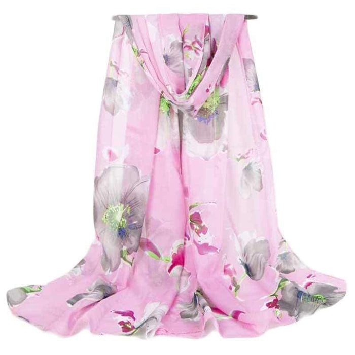 New Ladies Girls Floral Scarf Chiffon Black Pink Summer Neck Wear - Gift Shop UK
