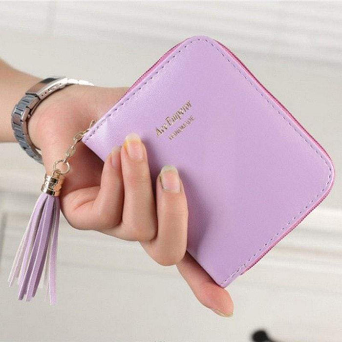 New Ladies Girls Wallet Faux Leather Card Holder Basic Purse Tassel Zip UK - The Fashion Gift Shop Ltd