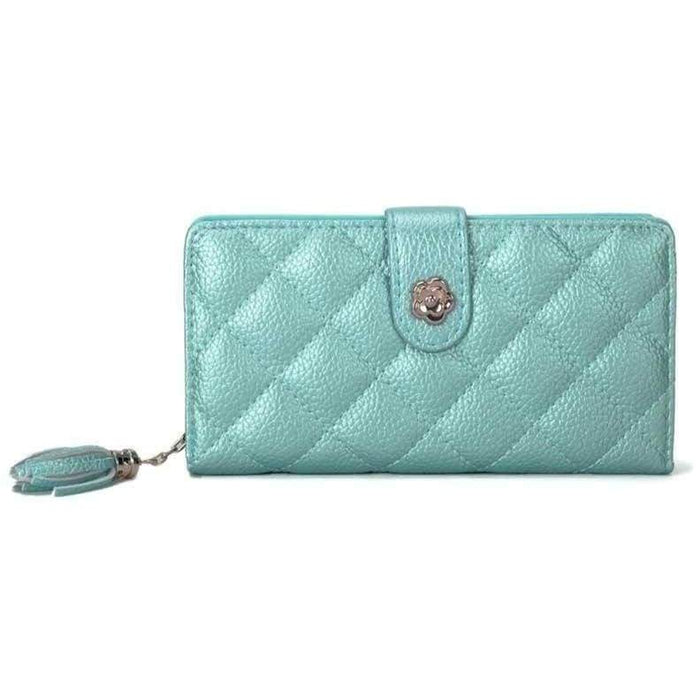 New Ladies Quality Textured Wallet Bi-fold Long Flower Hasp Purse - The Fashion Gift Shop Ltd