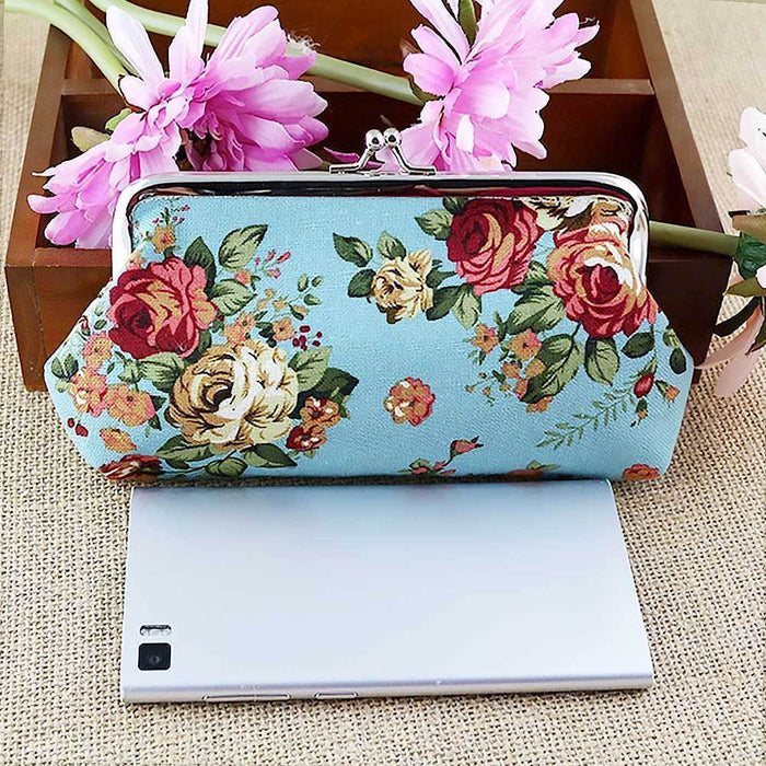 New Ladies Vintage Style Coin Purse Floral Money Pouch Rose Clutch Gift - Gift Shop UK