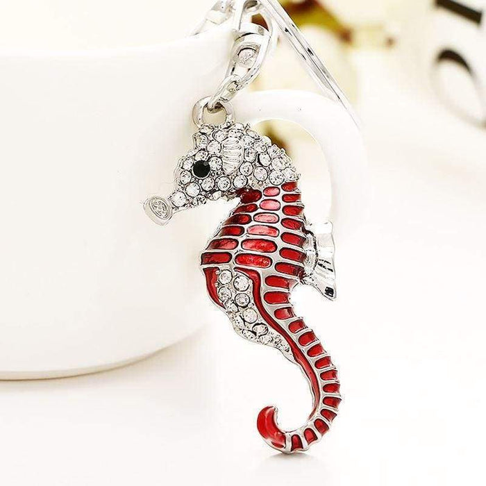 New Seahorse Keyring Metal Blue Red Pink Key Chain Mens Ladies Gift - The Fashion Gift Shop Ltd
