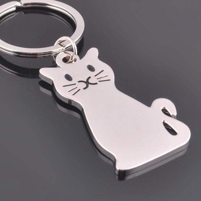 New Silver Alloy Cat Keyring Key Perfect Valentines Gift Handbag Charm - The Fashion Gift Shop Ltd