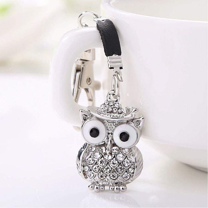 New Silver Metal Diamante Owl Keyring Clip Charm Gift Stocking Filler - The Fashion Gift Shop Ltd