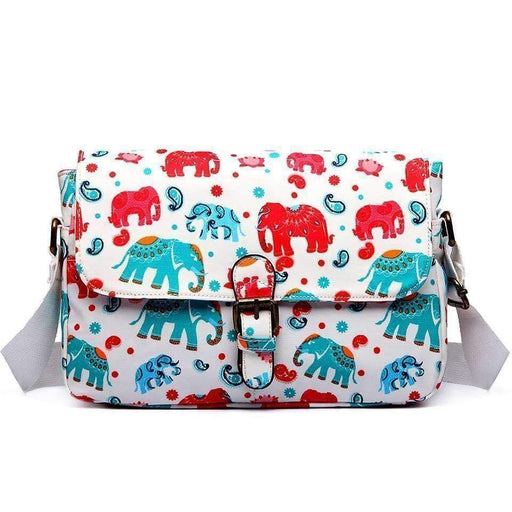 New Womens Girls Elephant Print Satchel Handbag School Shoulder Bag 4 Colours - The Fashion Gift Shop Ltd