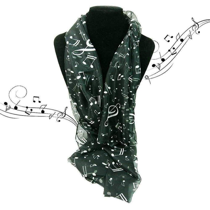 New Womens Ladies Girls Music Lightweight Musical Note Scarves Chiffon Scarf - Gift Shop UK