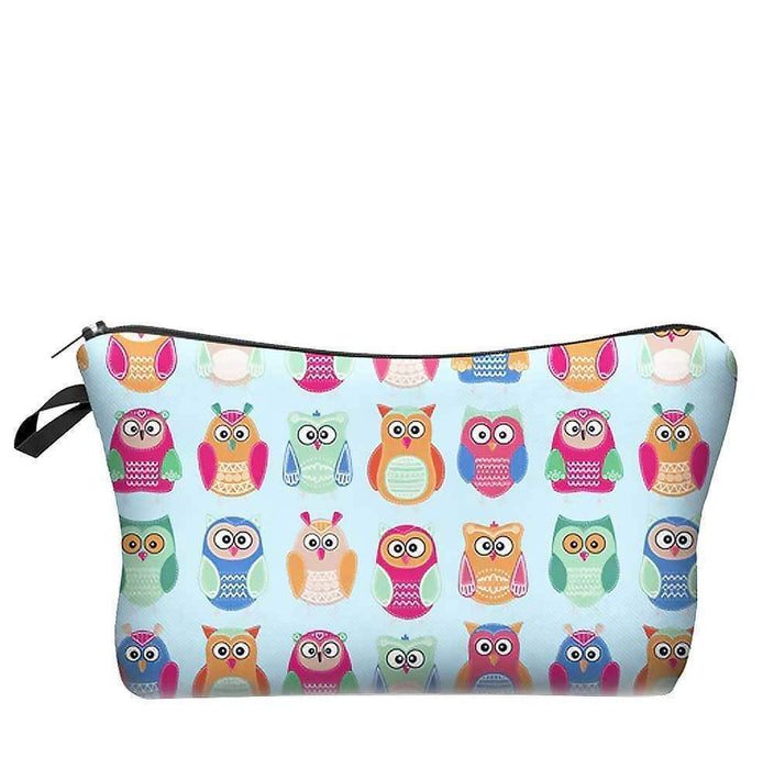 Owl Cosmetic Bag Funky Pattern Makeup Travel Pouch Zipped Case - Gift Shop UK