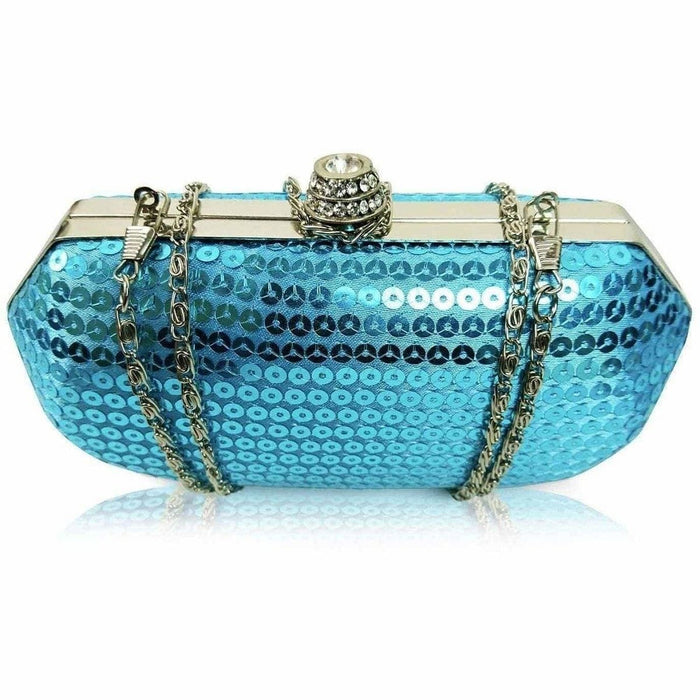Party Wedding Blue Sequin Evening Clutch Purse For Women - The Fashion Gift Shop Ltd
