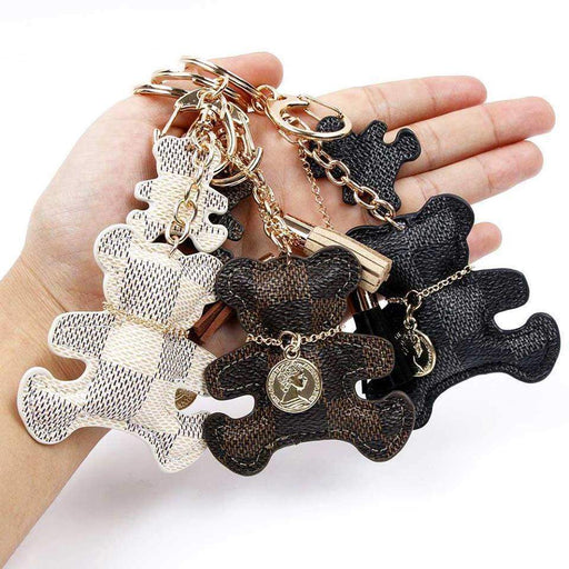 Patchwork Cute Teddy Bear Keyring Handbag Charm - The Fashion Gift Shop Ltd