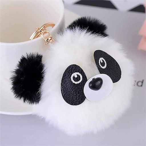 Pom Pom Panda Bear Bag Charm Keyring Soft Fluffy Ball Key Fob Gift - The Fashion Gift Shop Ltd