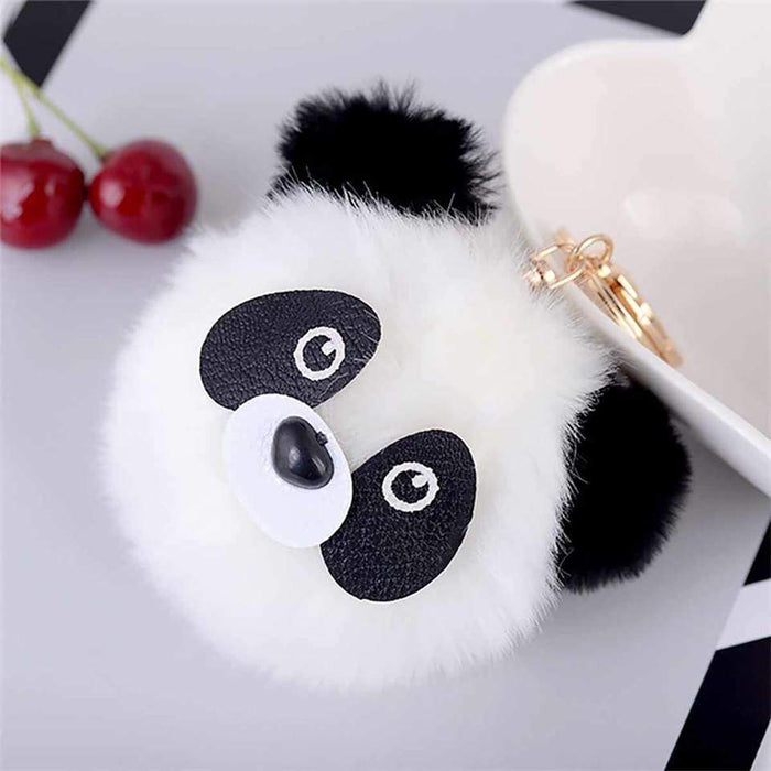 Pom Pom Panda Bear Bag Charm Keyring Soft Fluffy Ball Key Fob Gift - Gift Shop UK