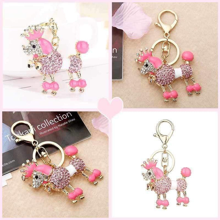 Princess Poodle Keyring 3D Pink Diamante Dog Keychain Charm - Gift Shop UK