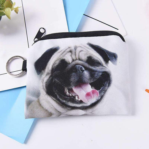 Cute Pug Dog Photo Print Coin Purse Wallet with Keychain - The Fashion Gift Shop Ltd
