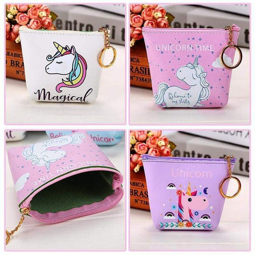 Purple Pink White Unicorn Wallet Keychain Coin Purse School Dinner Money Party - The Fashion Gift Shop Ltd