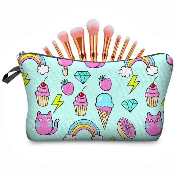 Rainbow Ice Cream Cakes Animal Make-up Bag Pencil Case - The Fashion Gift Shop Ltd