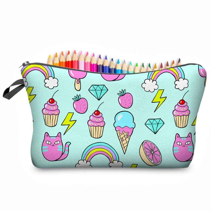 Rainbow Ice Cream Cakes Animal Make-up Bag Pencil Case - The Fashion Gift Shop