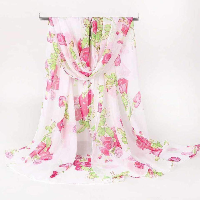 Rose Print Scarf Light Summer Cover Wrap Shawl Floral Chiffon - The Fashion Gift Shop
