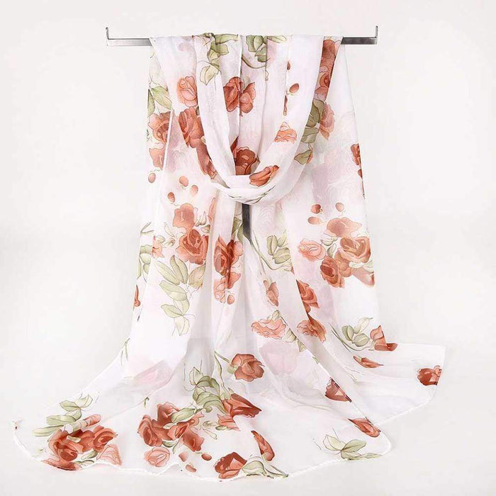Rose Print Scarf Light Summer Cover Wrap Shawl Floral Chiffon - Gift Shop UK