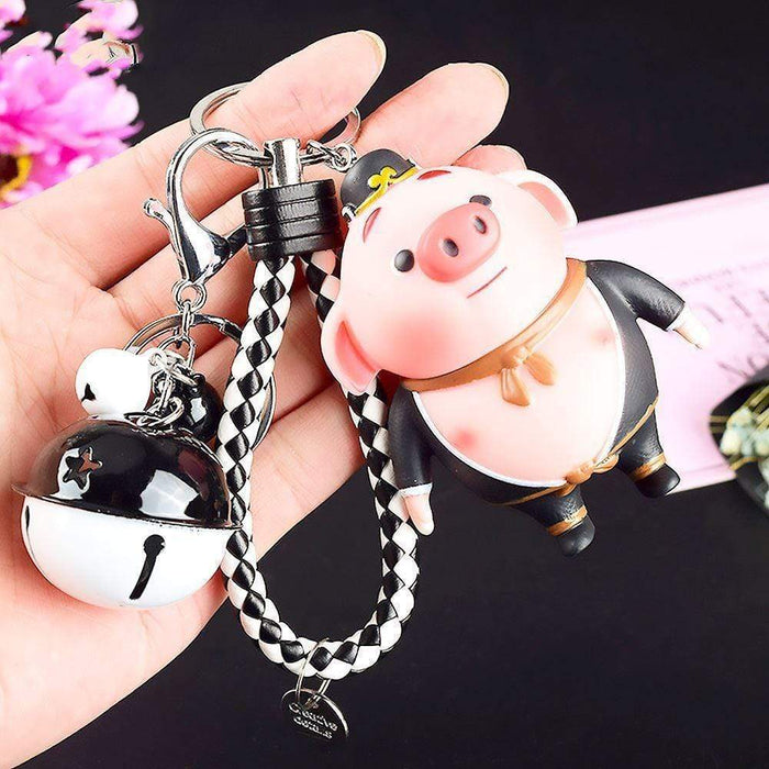 Gunter Pig Sing Movie Large Keyring with Bells and Bag Clasp - The Fashion Gift Shop Ltd