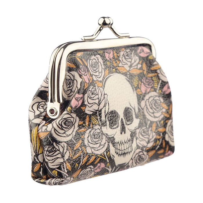 Skulls Roses Print Coin Purse Halloween Purse Wallet Back to School Gifts 💀 🎃 - The Fashion Gift Shop
