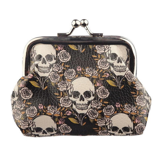 Skulls Roses Print Coin Purse Halloween Purse Wallet Back to School Gifts 💀 🎃 - The Fashion Gift Shop Ltd