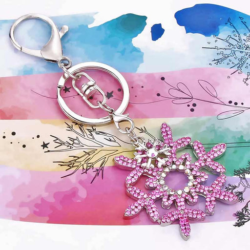 Snowflake Pink Charm Keyring Gifts - The Fashion Gift Shop