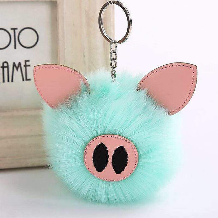 Super Soft Fluffy Pig Pom Pom Keyring Handbag Charm - Gift Shop UK