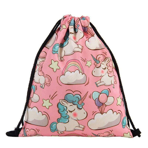 Unicorn Drawstring Bag Backpack Pink School Bag Yoga Bag - Gift Shop UK
