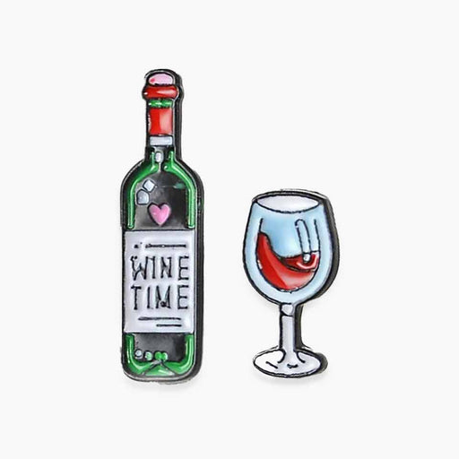 Wine Time Pin Badges Bottle Wine Glass Set - Gift Shop UK