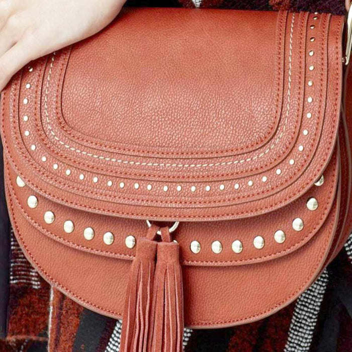 Women's Crossbody Mango Handbag With Tassel & Studded Detail - The Fashion Gift Shop Ltd