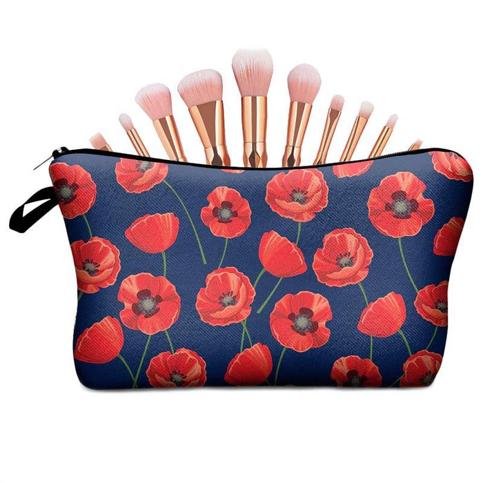 Women's Poppy Flower Cosmetic Make-Up Travel Night Bags - Gift Shop UK