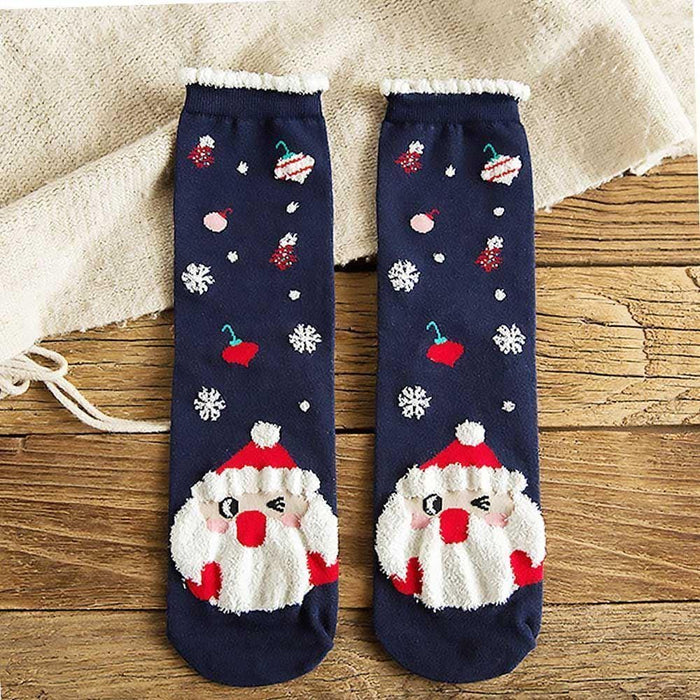 Womens Christmas Socks Santa Rudolph Snowman Textured fluffy Warm Xmas Gift - Gift Shop UK