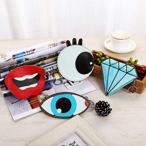 Womens Girls Large Coin Purse Novelty Fun Dimond Eye Shape Purses - The Fashion Gift Shop Ltd