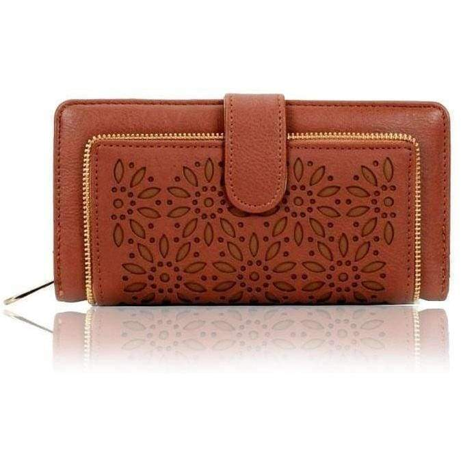 Womens Laser Cut Floral Wallet Bi-Fold Ladies Purse Quality Gift - The Fashion Gift Shop
