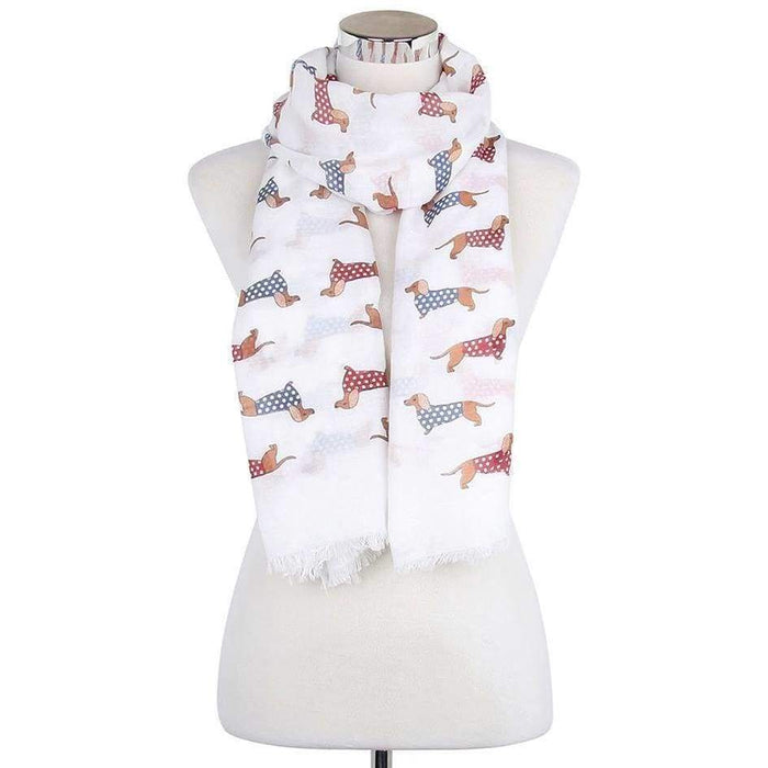Womens Polka Dot Sausage Dog Scarf Large Huge Soft Ladies Scarves Shawl Wrap - The Fashion Gift Shop Ltd