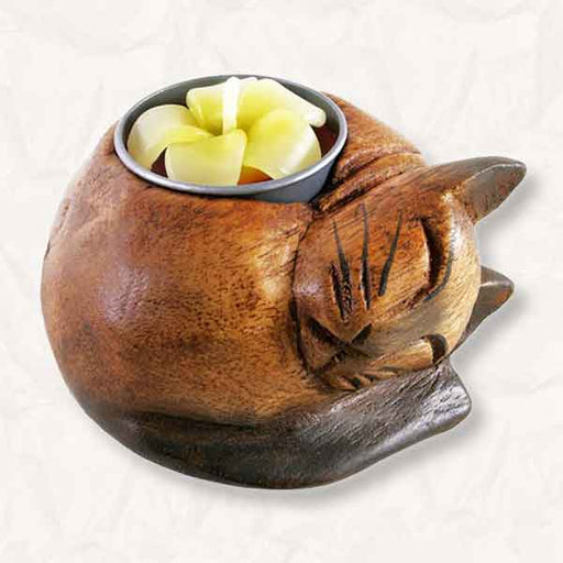 Wooden Curled-up Cat Tealight Holder Handcrafted from Acacia Wood - The Fashion Gift Shop