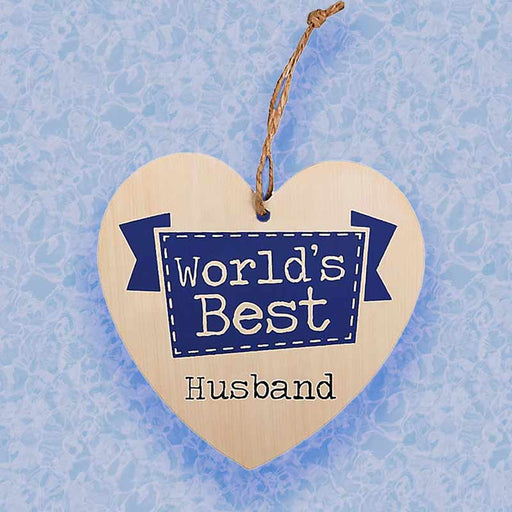 World Best Husband Wood Hanging Sign - Valentines Gift for Him - Gift Shop UK