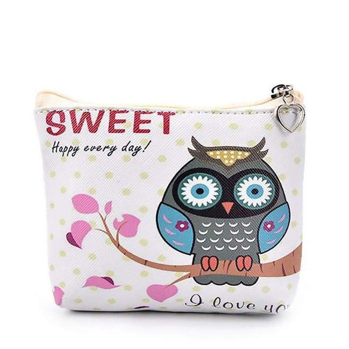 Zipped Owl Purse Small Pouch Money Wallet Sweet Printed Bag - Gift Shop UK