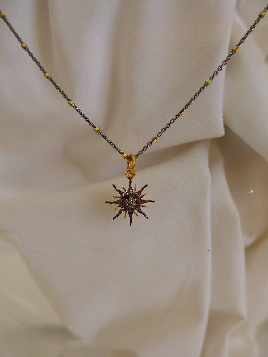 925 Oxidized Sterling Silver & Vermeil Chain with Oxidized Sterling Silver  & Vermeil Diamonds Sun Burst Pendant Necklace
