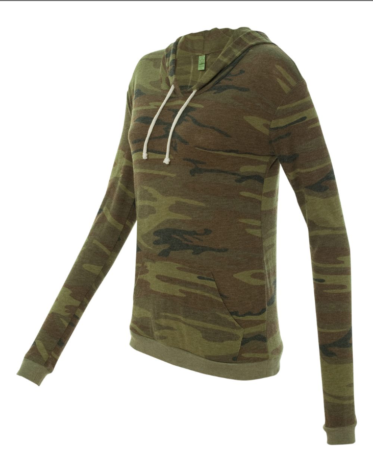 Women's Camo Hooded Pullover T-Shirt