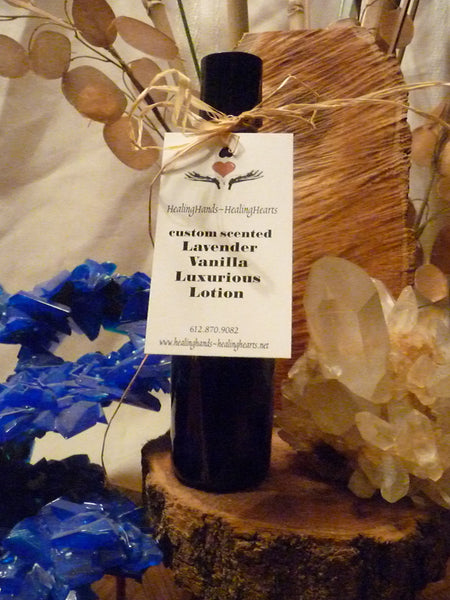 bottle of HealingHands~HealingHearts' luscious lux lotion