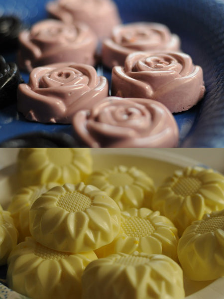 rose and sunflower shaped handcrafted soaps