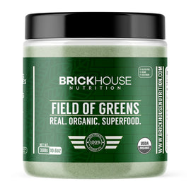 Field of greens organic superfood with fruits and vegetables