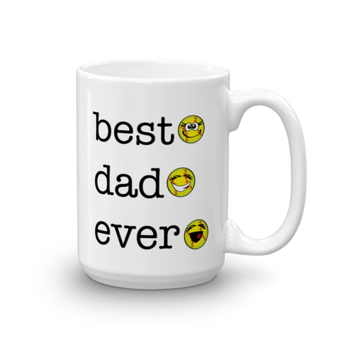 White Ceramic Best Dad Ever, Softball Sporji Mug