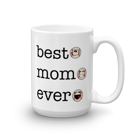 White Ceramic Best mom Ever, Baseball Sporji Mug
