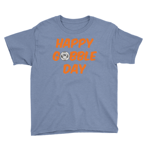 Youth Thanksgiving Happy Gobble Day Soccer T-Shirt