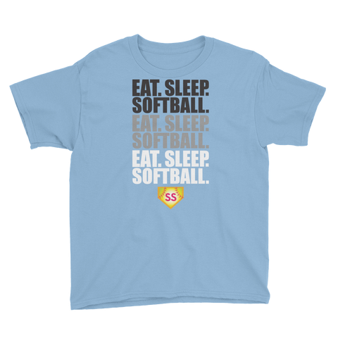 Youth Softball Eat Sleep Softball  T-Shirt